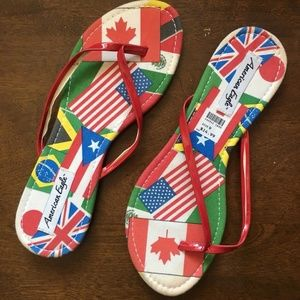 American Eagle AE Women's Sandals (9) World Flags